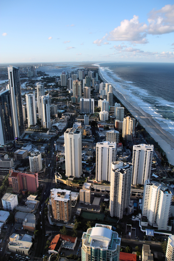 Urban aerial view - Surfers Paradise city in Gold Coast region of Queensland, Australia